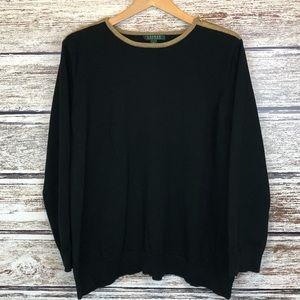 Lauren Ralph Lauren Black Sweater Gold Zip 3X